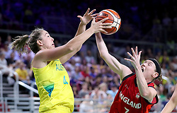 England's Rachael Vanderwal (right) and Australia's Jenna O'Hea (left) in action in the Women's Gold Medal Game at the Gold Coast Convention and Exhibition Centre during day ten of the 2018 Commonwealth Games in the Gold Coast, Australia.