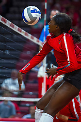 BLOOMINGTON, IL - September 14:  Emmy Ogogor during a college Women's volleyball match between the ISU Redbirds and the University of Central Florida (UCF) Knights on September 14 2019 at Illinois State University in Normal, IL. (Photo by Alan Look)