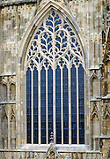 Restored west window of York Minster cathedral in heart of York design tracery after fire in 1984, UK