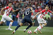 Kylian Mbappe of France and Domagoj Vida of Croatia during the 2018 FIFA World Cup Russia, final football match between France and Croatia on July 15, 2018 at Luzhniki Stadium in Moscow, Russia - Photo Thiago Bernardes / FramePhoto / ProSportsImages / DPPI