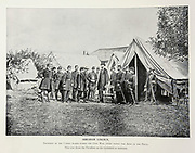 """ABRAHAM LINCOLN, President of the United States during the Civil War, often visited the Army in the Field, This view shows the President on the battlefield at Antietam from The American Civil War book and Grant album : """"art immortelles"""" : a portfolio of half-tone reproductions from rare and costly photographs designed to perpetuate the memory of General Ulysses S. Grant, depicting scenes and incidents in connection with the Civil War Published  in Boston and New York by W. H. Allen in 1894"""