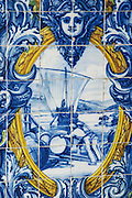 azulejos loading port pipes on barcos rabelos ferreira port lodge vila nova de gaia porto portugal
