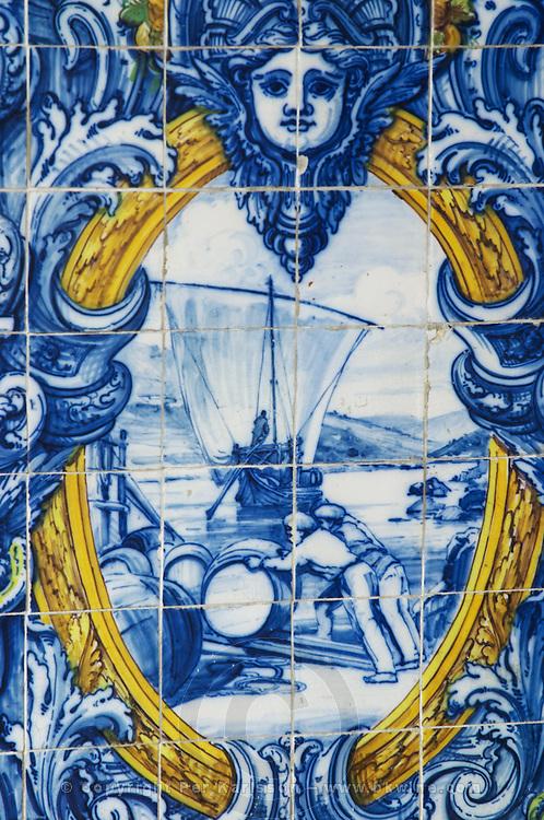 azulejos loading port pipes on barcos rabelos ferreira port lodge vila nova de gaia porto portugal