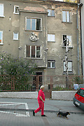 Europe, Slovakia, capitol city - Bratislava.pre war buildings in need of renovation shows the old Bratislava of the communist era...