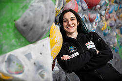 Mia Krampl at press conference of Slovenian National Climbing team before new season, on March 23, 2021 in Bolder Scena, Ljubljana, Slovenia. Photo by Vid Ponikvar / Sportida