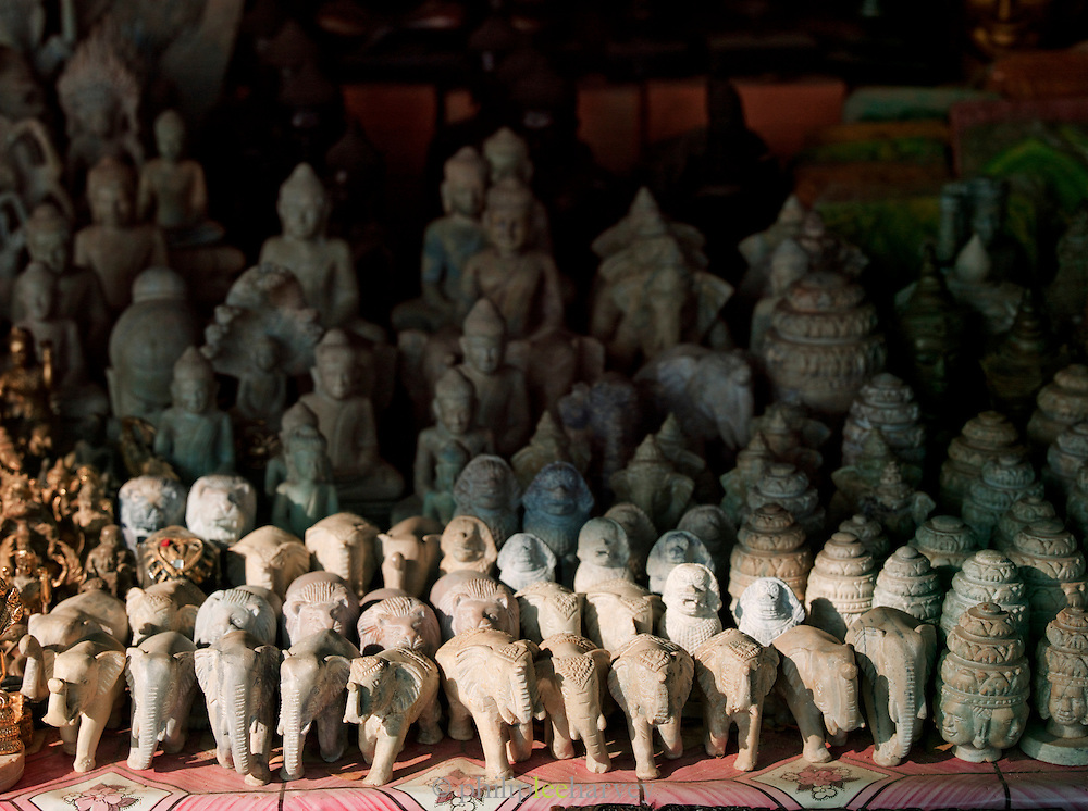 Souvenirs for sale at a stall in the Angkor temple complex, Siem Reap Province, Cambodia