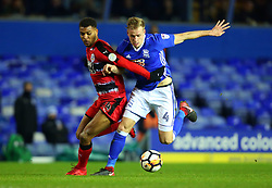 Steve Mounie of Huddersfield Town takes on Marc Roberts of Birmingham City - Mandatory by-line: Robbie Stephenson/JMP - 06/02/2018 - FOOTBALL - St Andrew's Stadium - Birmingham, England - Birmingham City v Huddersfield Town - Emirates FA Cup fourth round proper