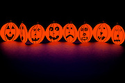 Glowing Paper Pumpkins.Black light