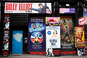 Signs for West End Theatre shows, central London.