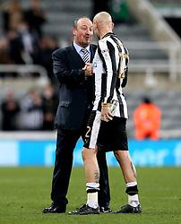 Newcastle United manager Rafa Benitez congratulates Jonjo Shelvey of Newcastle United after the win over Aston Villa - Mandatory by-line: Robbie Stephenson/JMP - 20/02/2017 - FOOTBALL - St James Park - Newcastle upon Tyne, England - Newcastle United v Aston Villa - Sky Bet Championship
