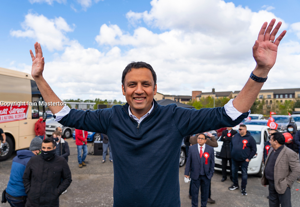 Glasgow, Scotland, UK. 5 May 2021. Scottish Labour Leader Anas Sarwar and former Prime Minister Gordon Brown appear at an eve of polls drive-in campaign rally in Glasgow today. Anas Sarwar acknowledges supporters after his speech. .  Iain Masterton/Alamy Live News