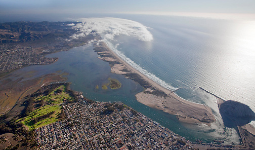 Aerial view of Morro Bay looking southwest.