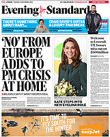Evening Standard Page One as The Duke and Duchess of Cambridge visit Evelina London Children's Hospital in London, UK, on the 11th December 2018.<br /> <br /> Picture by James Whatling