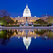 United States Capitol building, Washington DC, with reflection on pool. High resolution panorama.