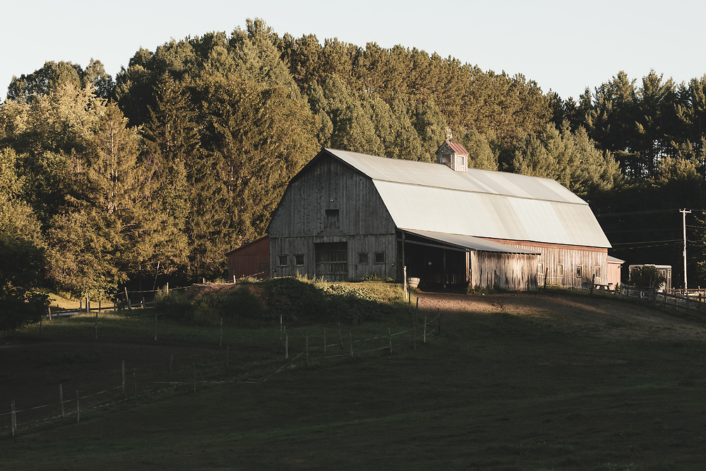Afternoon sunlight shining on a horse barn in the rural outskirts of Montpelier.