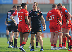 Both teams shake hands after the final whistle -Mandatory by-line: Nizaam Jones/JMP - 22/04/2019 - RUGBY - Sandy Park Stadium - Exeter, England - Exeter Braves v Saracens Storm - Premiership Rugby Shield