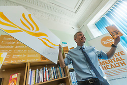 Willie Rennie visits mental health charity, Health In Mind and takes part in painting Liberal Democrat Logos before officially launching the Manifesto for the 2017 General Election.<br /> <br /> Pictured: Willie Rennie