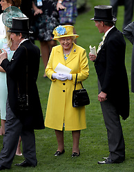 Queen Elizabeth II before the Wolferton Stakes during day one of Royal Ascot at Ascot Racecourse.