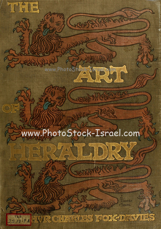Book cover of The art of heraldry : an encyclopædia of armory by Fox-Davies, Arthur Charles, 1871-1928 Published in London by T.C. & E.C. Jack in 1904. Heraldry is a broad term, encompassing the design, display and study of armorial bearings (known as armory), as well as related disciplines, such as vexillology, together with the study of ceremony, rank and pedigree. Armory, the best-known branch of heraldry, concerns the design and transmission of the heraldic achievement. The achievement, or armorial bearings usually includes a coat of arms on a shield, helmet and crest, together with any accompanying devices, such as supporters, badges, heraldic banners and mottoes