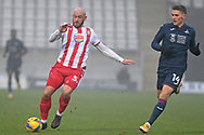 Stevenage defender Scott Cuthbert(5) runs forward during the FA Cup match between Stevenage and Swansea City at the Lamex Stadium, Stevenage, England on 9 January 2021.