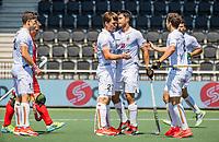 AMSTELVEEN -  Belgie, Tom Boon (Bel) , Alexander Hendrickx (Bel) ,Florent van Aubel (Bel) , vieren doelpunt,  tijdens de poulewedstrijd heren, Belgie-Rusland (9-2) bij het  EK hockey . COPYRIGHT KOEN SUYK