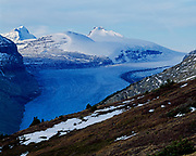 Glacier spilling from the Columbia Icefield southwest of Mount Athabasca, Banff National Park, Alberta.
