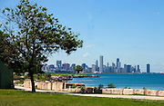 Skyline of downtown Chicago at the Field Museum Campus and Lake Michigan.  Chicago Illinois USA