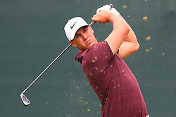 August 25, 2018 - Paramus, NJ, U.S. - PARAMUS, NJ - AUGUST 25:   Brooks Koepka of the United States plays his shot from the first tee  during the third round of The Northern Trust on August 25, 2018 at the Ridgewood Championship Course in Ridgewood, New Jersey.   (Photo by Rich Graessle/Icon Sportswire) (Credit Image: © Rich Graessle/Icon SMI via ZUMA Press)