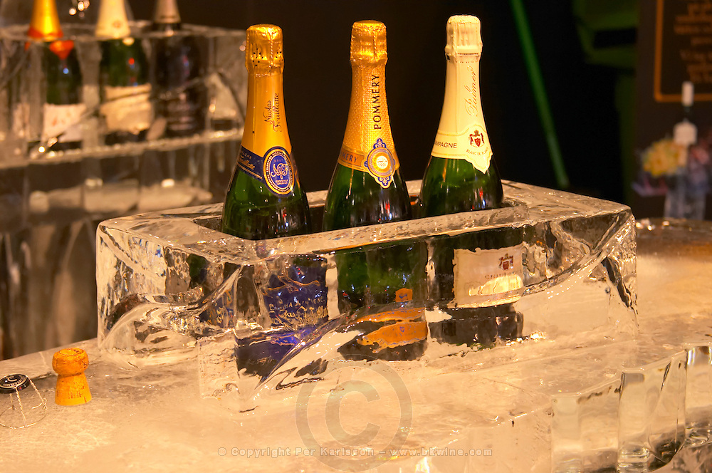 An ice bar with champagne coolers in pure ice. At Vinordic. Nicolas Feuillatte, Pommery, Palmer. At the Vinordic wine trade show. Stockholm. Sweden, Europe.