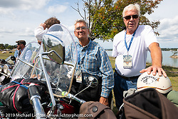 Kerry Patchett (L) and Bob Gamache lined up for the panorama portrait in Aune Osborne Park in Sault Sainte Marie, the site of the official start of the Cross Country Chase motorcycle endurance run from Sault Sainte Marie, MI to Key West, FL. (for vintage bikes from 1930-1948). Thursday, September 5, 2019. Photography ©2019 Michael Lichter.
