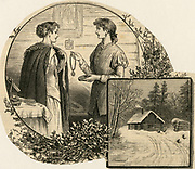 Woman offering her friend  jewellery to wear to a Christmas party. Engraving,1883.