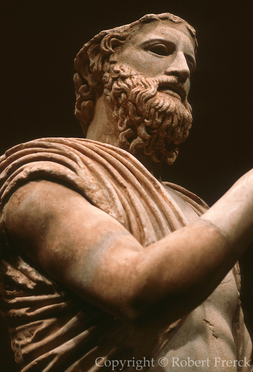 GREECE, HISTORIC ART AND ARTIFACTS Sculpture of Anakreon the lyric poet; a Roman copy of a Bronze original; from the National Museum