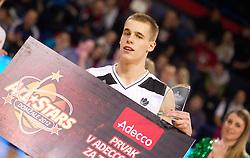 Klemen Prepelic, winner of three throws during Slovenian basketball All Stars Domzale 2012 event, on January 2, 2012 in Hala Komunalnega centra, Domzale, Slovenia.  (Photo By Vid Ponikvar / Sportida.com)