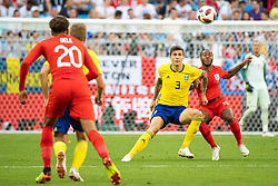 July 7, 2018 - Samara, Russia - 180707 Victor Nilsson Lindelöf of Sweden competes for the ball with Raheem Sterling of England during the FIFA World Cup quarter final match between Sweden and England on July 7, 2018 in Samara..Photo: Petter Arvidson / BILDBYRÃ…N / kod PA / 92083 (Credit Image: © Petter Arvidson/Bildbyran via ZUMA Press)