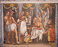 Roman mosaic of actors from the Casa del Poet Tragic (VI 8, 3,) Pompeii, inv 9986. Naples Archaeological Musum, Italy ..<br /> <br /> If you prefer to buy from our ALAMY PHOTO LIBRARY  Collection visit : https://www.alamy.com/portfolio/paul-williams-funkystock/roman-mosaic.html - Type -   Naples   - into the LOWER SEARCH WITHIN GALLERY box. Refine search by adding background colour, place, museum etc<br /> <br /> Visit our ROMAN MOSAIC PHOTO COLLECTIONS for more photos to download  as wall art prints https://funkystock.photoshelter.com/gallery-collection/Roman-Mosaics-Art-Pictures-Images/C0000LcfNel7FpLI