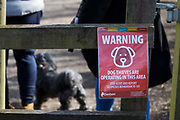 A notice warning visitors to Denham Country Park that dog thieves have been reported in the area is pictured on 13th February 2021 in Denham, United Kingdom. Police forces have reported that dog thefts by criminal gangs have risen during the coronavirus lockdowns as demand for puppies and prices of animals for sale have increased.