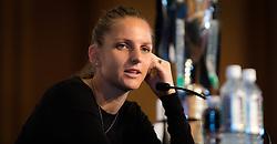 October 20, 2018 - Kallang, SINGAPORE - Karolina Pliskova of the Czech Republic talks to the media during the All Access Hour of the 2018 WTA Finals tennis tournament (Credit Image: © AFP7 via ZUMA Wire)