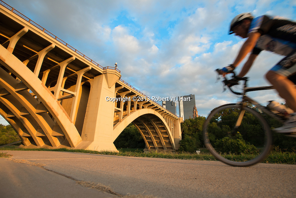 The Main Street Viaduct, also known as the Paddock Viaduct, over the Clear Fork of the Trinity River was completed in 1914 and renovated in 1965 and 1988. Listed in the National Register of Historic Places, the concrete arch bridge was designed by Brennecke & Fay of St. Louis, Missouri. Photo taken on October 11, 2013 in Fort Worth, Texas.<br /> <br /> Robert W. Hart/Special Contributor