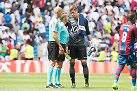Levante's Raul Fernandez talking with the referees during La Liga match between Real Madrid and Levante UD at Santiago Bernabeu Stadium in Madrid, Spain September 09, 2017. (ALTERPHOTOS/Borja B.Hojas)