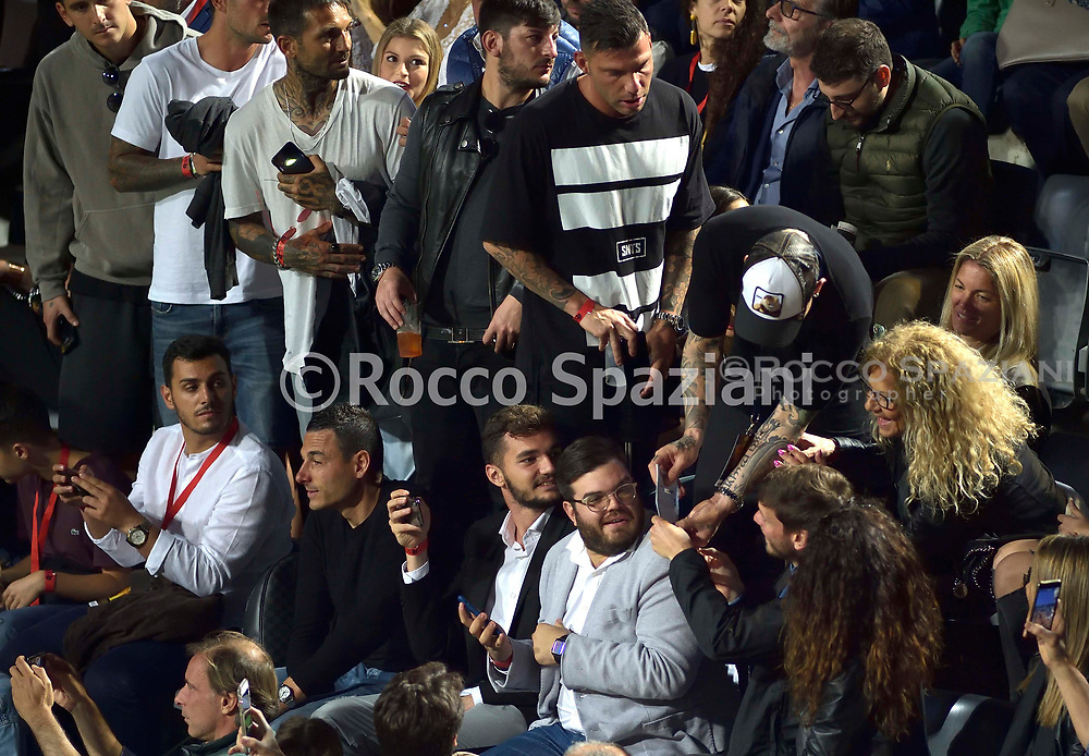 Radja Nainggolan Belgian footballer, Inter midfielder, discusses for the place in the stands at the night of the kings of the Foro Italico Tennis Stadium<br /> the night of Totti, the Night of the Kings. At 21 today on the field of the Foro Italico Tennis Stadium the number 10 Giallorossi will find many teammates and opponents of the past. He will do it for charity, in the 6 against 6 match organized by the International Football Development Association, an organization that aims to re-professionalize former footballers. A team of friends of Totti, mainly former comrades from Rome and the National team, will face that of Luis Figo, composed of his former colleagues from Inter, Real Madrid and the Portuguese national. The event is organized in collaboration with Area 62 and GroupM ESP.<br /> This is the composition of the two teams of former players:<br /> <br /> Team Totti: Peruzzi, De Sanctis, Aldair, Candela, Cassetti, Chivu, Zambrotta, Aquilani, Boban, Perrotta, Pirlo, Pizarro, Tommasi, Borriello, Cassano, Toni.<br /> <br /> Team Figo: Vitor Baia, Julio Cesar, Roberto Carlos, Hierro, Materazzi, Salgado, Cambiasso, Malouda, Mendieta, Pires, Seedorf, Stankovic, Kluivert, Nuno Gomes.