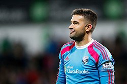 Boaz Myhill of West Brom smiles after making a save in the penalty shootout to help his side to victory - Photo mandatory by-line: Rogan Thomson/JMP - 07966 386802 - 26/08/2014 - SPORT - FOOTBALL - The Hawthorns, West Bromwich - West Bromwich Albion v Oxford United - Capital One Cup Round 2.
