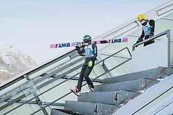 31.12.2020, Olympiaschanze, Garmisch Partenkirchen, GER, FIS Weltcup Skisprung, Vierschanzentournee, Garmisch Partenkirchen, Qualifikation, Herren, im Bild Mikhail Nazarov (RUS), Evgeniy Klimov (RUS) // Mikhail Nazarov of Russian Federation Evgeniy Klimov of Russian Federation during qualification jump of men's Four Hills Tournament of FIS Ski Jumping World Cup at the Olympiaschanze in Garmisch Partenkirchen, Germany on 2020/12/31. EXPA Pictures © 2020, PhotoCredit: EXPA/ JFK