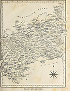 18th Century Map of Gloucestershire [Glocestershire] a county in South West England. The county comprises part of the Cotswold Hills, part of the flat fertile valley of the River Severn, and the entire Forest of Dean. Copperplate engraving From the Encyclopaedia Londinensis or, Universal dictionary of arts, sciences, and literature; Volume VIII;  Edited by Wilkes, John. Published in London in 1810.
