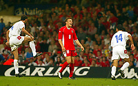Photograph: Scott Heavey.<br />Euro 2004 Group 9 Qualifying match.<br />Wales v Serbia and Montenegro. 11/10/2003.<br />Craig Bellamy cant hide his frustration