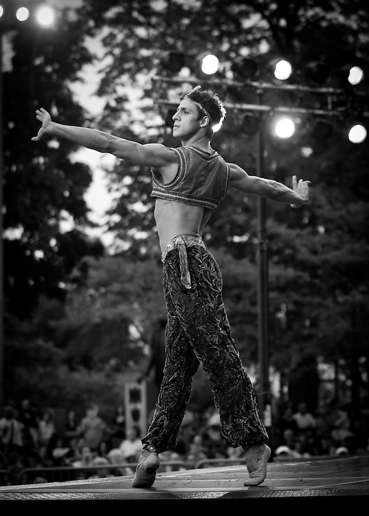 Boston Ballet's Jaime Francisco Diaz Gomez performs with the Boston Landmarks Orchestra at the Hatch shell. 31st of August 2011