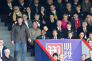 Martin Long, the Crystal Palace chairmen looks on with Delia Smith, the joint majority shareholder at Norwich City with her husband Michael Wynn-Jones (above left).  Barclays Premier League match, Crystal Palace v Norwich city at Selhurst Park in London on Saturday 9th April 2016. pic by John Patrick Fletcher, Andrew Orchard sports photography.