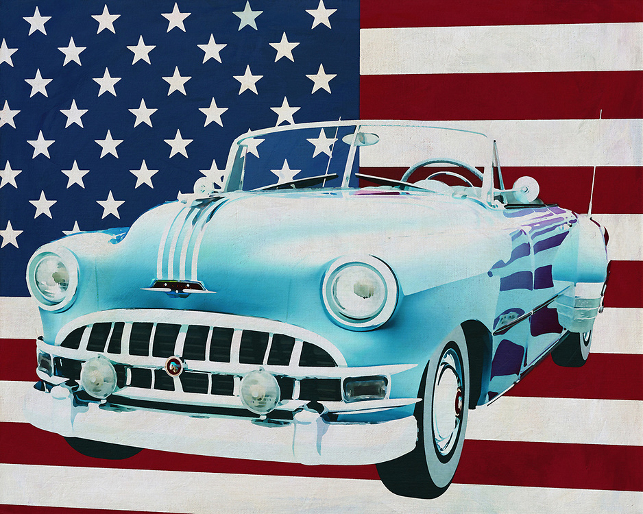 Pontiac is a very popular car brand among American collectors and certainly the Pontiac Chieftain where you see a Convertible version of. The reason why the Pontiac Chieftain Convertible is so popular can be guessed. So many Pontac Chieftains have been built that getting spare parts is no problem.<br /> <br /> This painting of the Pontiac Chieftain Convertible, built in 1950, with the American flag in the background can be purchased in various sizes and printed on canvas as well as wood and metal. You can also have the painting finished with an acrylic plate over it which gives it more depth. -<br /> -<br /> BUY THIS PRINT AT<br /> <br /> FINE ART AMERICA<br /> ENGLISH<br /> https://janke.pixels.com/featured/pontiac-chieftain-convertible-1950-with-flag-of-the-usa-jan-keteleer.html<br /> <br /> <br /> WADM / OH MY PRINTS<br /> DUTCH / FRENCH / GERMAN<br /> https://www.werkaandemuur.nl/nl/shopwerk/Pontiac-Chieftain-Convertible-1950-met-vlag-van-de-V-S-/665472/132?mediumId=1