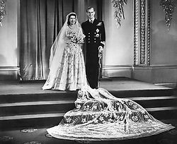 File photo dated 20/11/47 of Princess Elizabeth and the Duke of Edinburgh at Buckingham Palace after their wedding ceremony. Issue date: Friday April 9, 2021. PA Photo See PA story ROYAL Philip Wedding. Photo credit should read: PA/PA Wire