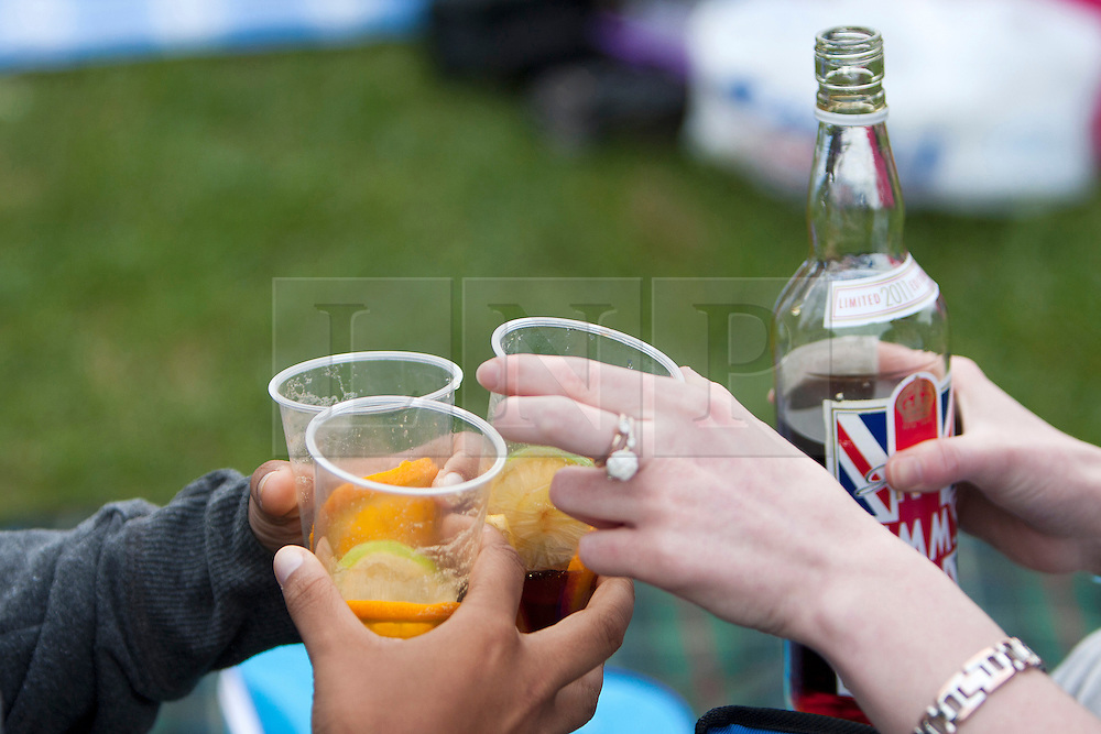 LOCATION, UK  29/04/2011. The Royal Wedding of HRH Prince William to Katherine Middleton. In the pump gardens in Royal Leamington Spa Photo well-wishers toast the Royal couple. credit should read.Sam Spickett/LNP. Please see special instructions. © under license to London News Pictures