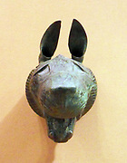 Lion-griffin head made from bronze. Iranian, Persian Ist Century BC